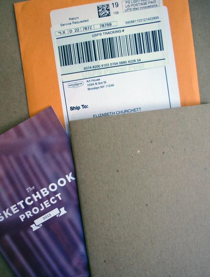 Mailing envelope, brochure, and sketchbook